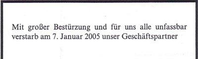 Todesanzeigensammlung Christian Sprang